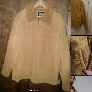 Vintage mens genuine suede sherpa-lined jacket